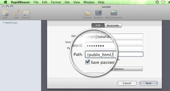 Set Rapidweaver publishing settings to public_html folder