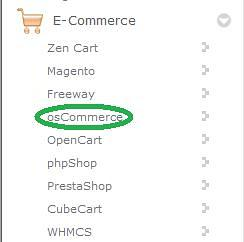 Find the osCommerce link and click on it.